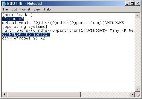 Dual Boot Kolibrios with Windows NT/2K/XP/7 - KolibriOS wiki